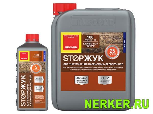 Защита древесины от насекомых Neomid STOPЖУК (Неомид АНТИЖУК)